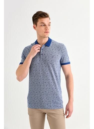 Avva Erkek  Polo Yaka Çiçek Baskılı Tişört A01Y1005 Lacivert